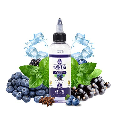 Daintys - Blueberry Blackcurrant Menthol - Eco Vape E-Liquid | 80ml | Sans Nicotine NI TABAC | 50VG/50PG | E-Liquide pour Cigarettes Electroniques | E Vaper Liquids | E Cigarette | E Shisha
