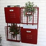 Revista de hierro industrial americana Estante de pared como estantería de almacenamiento Estante de exhibición Estante de metal Revista de hierro Perchero montado en la pared ( Color : Red 54*51cm )