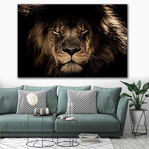 GJQFJBS Wildtier Löwe auf Leinwand Wandkunst Druck Poster Leinwand Malerei Schwarz Weiß Wandbild A5 60x90cm
