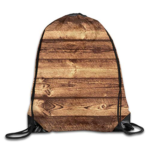 LREFON Bolsas con cordón para gimnasio Mochila Mochila de madera marrón Mochila para viajes Almacenamiento Organizador de zapatos Hombro escolar Compras Adultos
