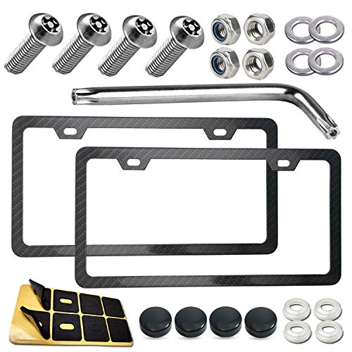 Carbon Fiber License Plate Frame- Slim Aluminum Car Tag Holder with Mount Hardware Kit fit Front & Rear, Anti-Theft Bolts for License Plate Security, Black Screw Cap Covers, Rust/Rattle Proof Pads