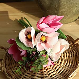 Artificial and Dried Flower 6 Heads Artificial Silk Orchid Floral Bouquet Fake Flowers Magnolia Home Arrange Table Party Wedding Decor Faux Flowers Ble