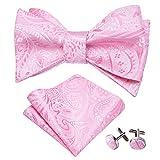 YOHOWA Pink Self Tie Bow Tie with Pocket Square Cufflinks Mens Paisley Silk Bow Tie Set