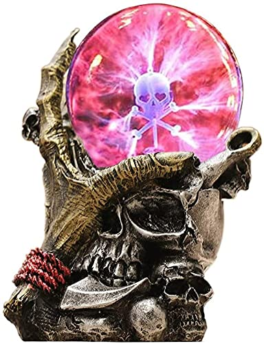 Halloween Skull Head Glass Lamp, 3D Touch Sensitive Night Light, Retro Skeleton Resin Crafts, Creative Ornament Ghost Festival Party Props Kids Toy