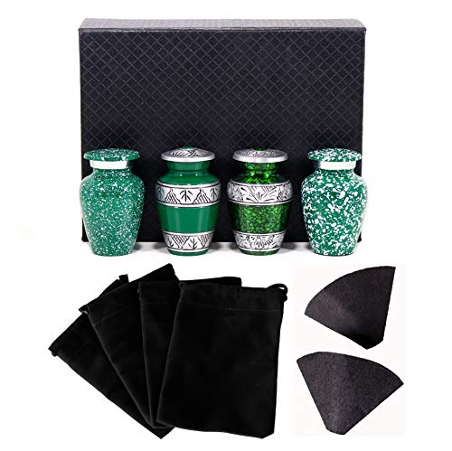 THE ASCENT MEMORIAL Green Mini URN for Human Ashes   Set of 4 URNS   Keepsake Box   4 Shades of Green Small POTS for Ashes with Black Gift Box, 4 Drawstring Velvet Carry Bags and Funnel