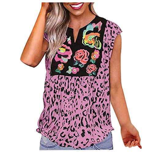 BOLANQ Vêtements Lässige Leopardenblüten-Spleißbluse mit V-Ausschnitt für Frauen im Sommer