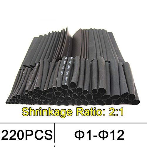 NO LOGO W-Nuanjun-rsg 220pcs Schrumpfschlauch 2: 1 Schrumpfschlauch Wärmeschrumpfschlauch 1mm 2mm 3mm 4mm 6mm 8mm 10mm 12mm Kabelschlauch Thermoschlauch (Farbe : 220pcs)