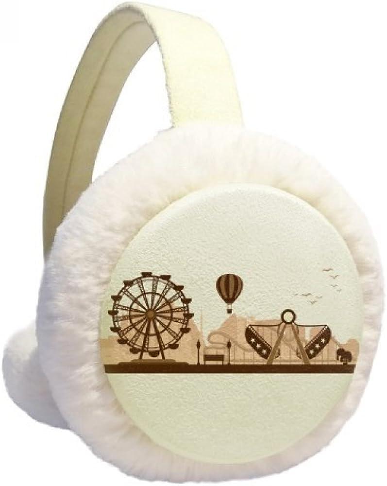 Amusement Park Black Facilities Outline Winter Ear Warmer Cable Knit Furry Fleece Earmuff Outdoor