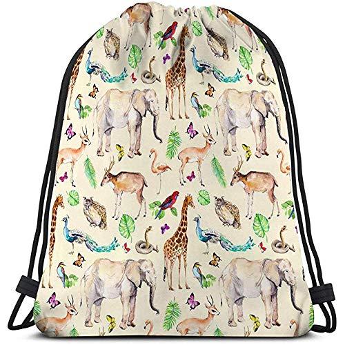 Dingjiakemao Totebag,Sport Fitness Bag Trekkoord Rugzak Voor Man Vrouwen Wilde Dieren Vogels Dierentuin Wildlife Olifant Giraffe Herten Uil Papegaai Andere aquarel Karakter