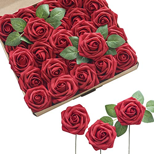 Ling's moment Artificial Flowers Red Roses 25pcs Real Looking Fake Roses w/stem for DIY Wedding Bouquets Centerpieces Arrangements Party Home Decorations