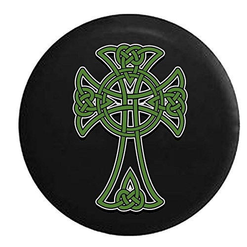 Celtic Cross Eternal Knot Green Gold Irish Scottish Spare Tire Cover fits SUV Camper RV Accessories 31 in