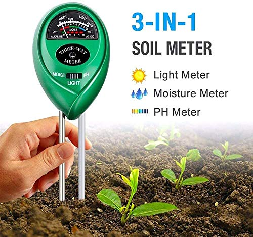 Pkfinrd bodemvochtigheidsmeter, 3-in-1, vocht- en hygrometer, hydrocultuur tuinplant, bloemenaarde, pH-tester analyse-tools