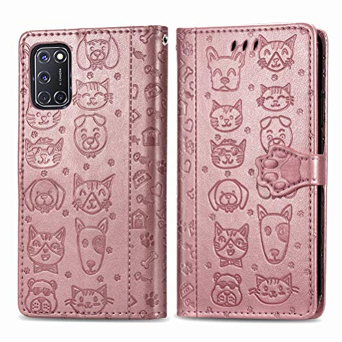 COTDINFOR Compatible with Oppo A52 Hülle Klapphülle Leder Schutzhülle Magnetisch Brieftasche Handytasche Lederhülle Flip Hülle Handyhüllen für Oppo A92 / A72 / A52 Cover Cat Dog Rose Gold SD.