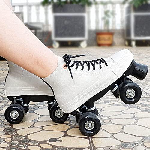 XRDSHY Roller Skates for Women Quad Roller Double Row for Children Sport Skateboardschuhe Adults RollschuheCanvas Roller Skates Outdoor,White-43