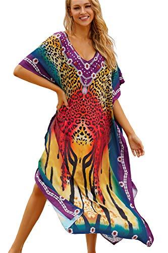 AiJump Donna Lungo Kaftan Bohémien Vestito da Spiaggia Abito Maxi Parei Mare Costume da Bagno Cover Up Dress Estate