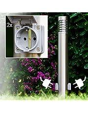 Buitenlamp Dakar met 2 stopcontacten, moderne sokkellamp van roestvrij staal en kunststof, padverlichting 80 cm, tuinlamp met E27-fitting, 1 x E27 max. 15 watt, tuinverlichting IP44