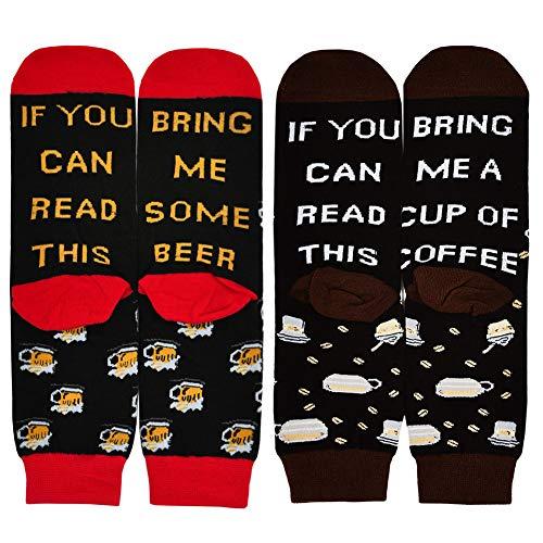 PUTUO Wenn Du Das Lesen Kannst Bring Mir Ein Bier Socken Wein Tee Kaffee Socken, Herren Lustige Socken Männer Witzige Socken aus Baumwoll