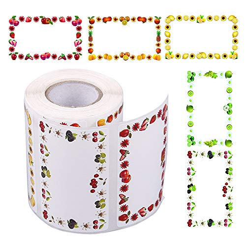 Gobesty Etiquetas para tarros de mermelada, 500 Uds.Etiquetas autoadhesivas para mermeladas rectangulares Etiquetas de botellas con diseño de frutas encantadoras para cocina, regalos de mermel