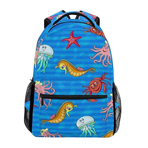 Daypacks Ocean Sea Life Aquatic Fish Rucksack Gedruckt Daypack Casual Student Laptop Buch Schultasche College Geschenkreise Für Kinder Mädchen Jungen Frauen Männer