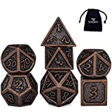 HEIMDALLR Metal DND Dice Set 7 PCS - Dungeons and Dragons Polyhedral Dice Set with D&D Dice Bag for RPG Gaming - Includes D20 - Blacksmith Craft Dice (Burnished Bronze)