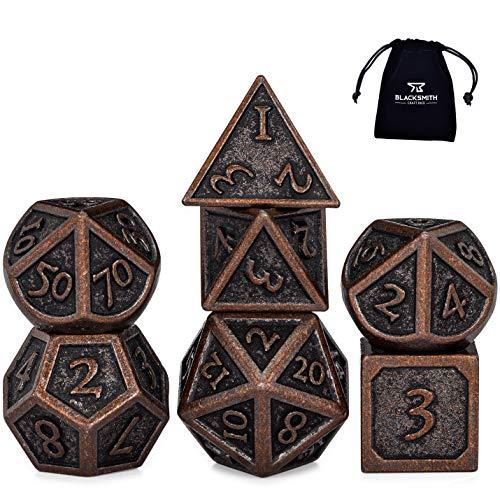 HEIMDALLR Metal DND Dice Set 7pcs - Indestructible Metal Dice Set w  Dice Bag; D&D Dice Set D&D (Dungeons and Dragons Dice Set) w  D20 Dice - Blacksmith Craft Dice (Weathered Bronze)