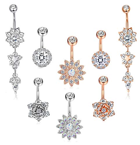 FIBO STEEL 8 Pcs Dangle Belly Button Rings for Women Girls Navel Barbell Body Jewelry Piercing 14G