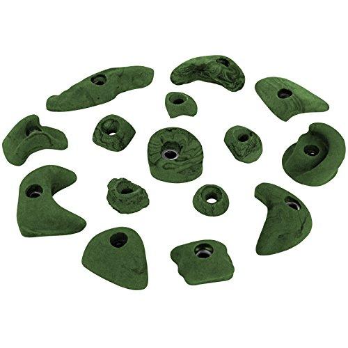 ALPIDEX 15 Klettergriffe Klettersteine, je 5 Griffe in den Größen L, M und S - Farbe:grün-meliert