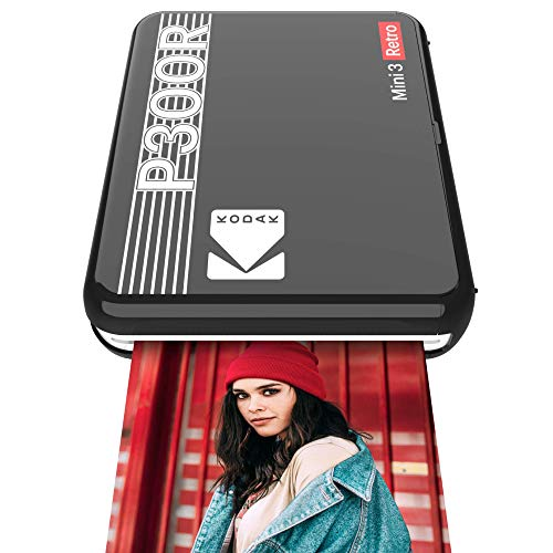 "Kodak Mini 3 Retro Portable Photo Printer, Compatible with iOS, Android & Bluetooth Devices, Real Photo: (3""x3""), 4Pass Technology & Laminating Process, Print Photos - Black"