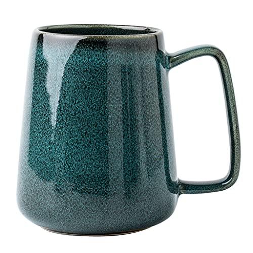 SDFB Taza de café de cerámica con Forma de Cono de 25 onzas, Tazas de Cerveza Retro Grandes, esmaltado Suave, Adecuada para el hogar y Las oficinas (Verde)