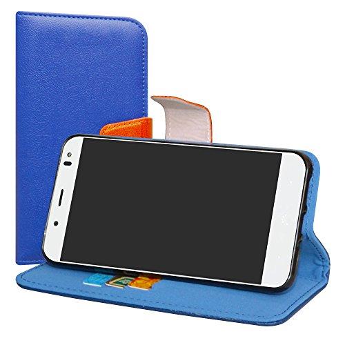LiuShan BQ Aquaris VS Plus/Aquaris V Plus Hülle, Brieftasche Handyhülle Schutzhülle PU Leder mit Kartenfächer & Standfunktion für BQ Aquaris VS Plus/Aquaris V Plus (5,5 Zoll) Smartphone,Deep Blau