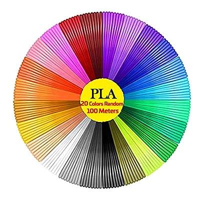 HooMore 3D Pen Filament Refills PLA Masqudo 20 Colors Random 3D Printer Filament PLA 1.75mm 3D Printing Pen Filament (20 Colors/5M)