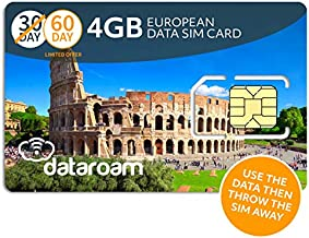 Dataroam Prepaid 4G Europe Data SIM Card - Europe 4GB Bundle - 36 Countries - 3-in-1 SIM - Cellhire