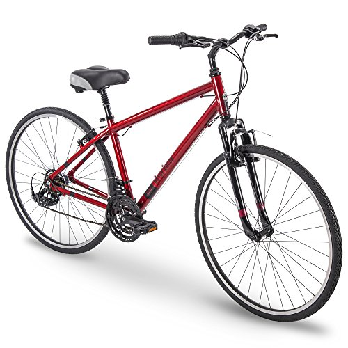 "700c Royce Union RMY Mens 21-Speed Hybrid Comfort Bike, 17"" Aluminum Frame, Metallic Red"