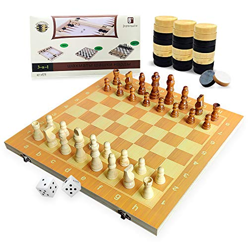 3 in 1 Wooden Chess Checkers Set, 15' Upgraded Foldable Chess Set, Storage for Piece, Handcraft Travel Chess Board Game Set for Beginner, Kids and Adults , Extra 30 Wooden Checkers Pieces and 2 Dice