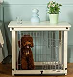 Simply Plus Wood & Wire Dog Crate with Slide Tray and Detachable Top Cover Indoor Pet Crate Side Table Small