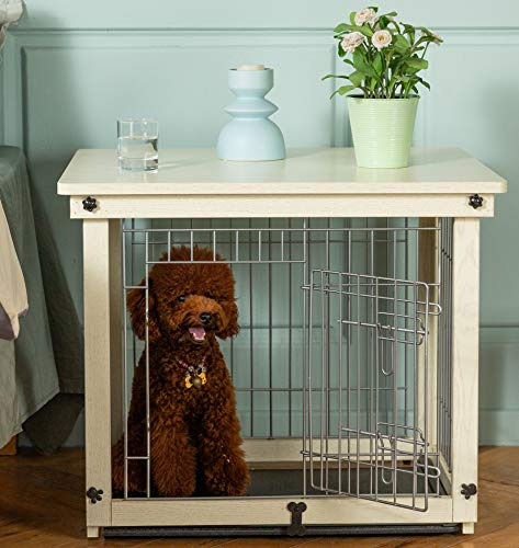 Simply Plus Wood & Wire Dog Crate with Slide Tray and Detachable Top Cover Indoor Pet Crate Side...