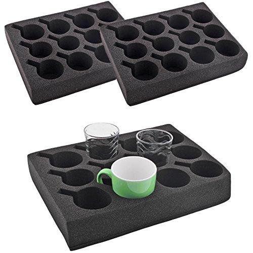 wamovo 2X Tassenhalter Glashalter | 12er | schwarz | Spezialschaum | 330x245x60 mm