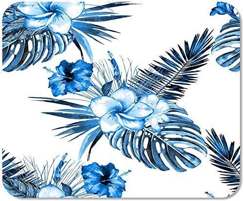 Rutschfestes Mauspad für Computer, Büro, blau, tropisches Blumenmuster, Aquarell, exotische Blumensträuße von Hibiskus, Schule, Spiele, Computer, Arbeiter, 25 x 30 cm