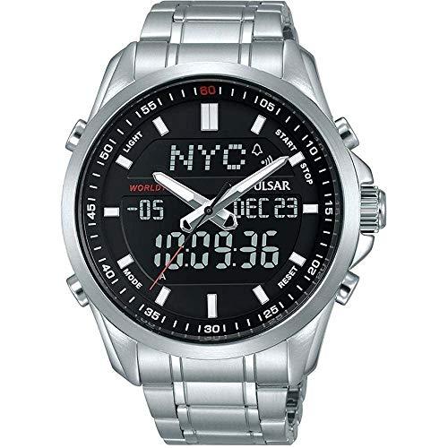 SEIKO PULSAR PZ4021X1 Chronograph Watch セイコー パルサー デジアナ アナデジ デジタル アナログ クロノグラフ ワールドタイム シルバー ブラック 腕時計 [並行輸入品]