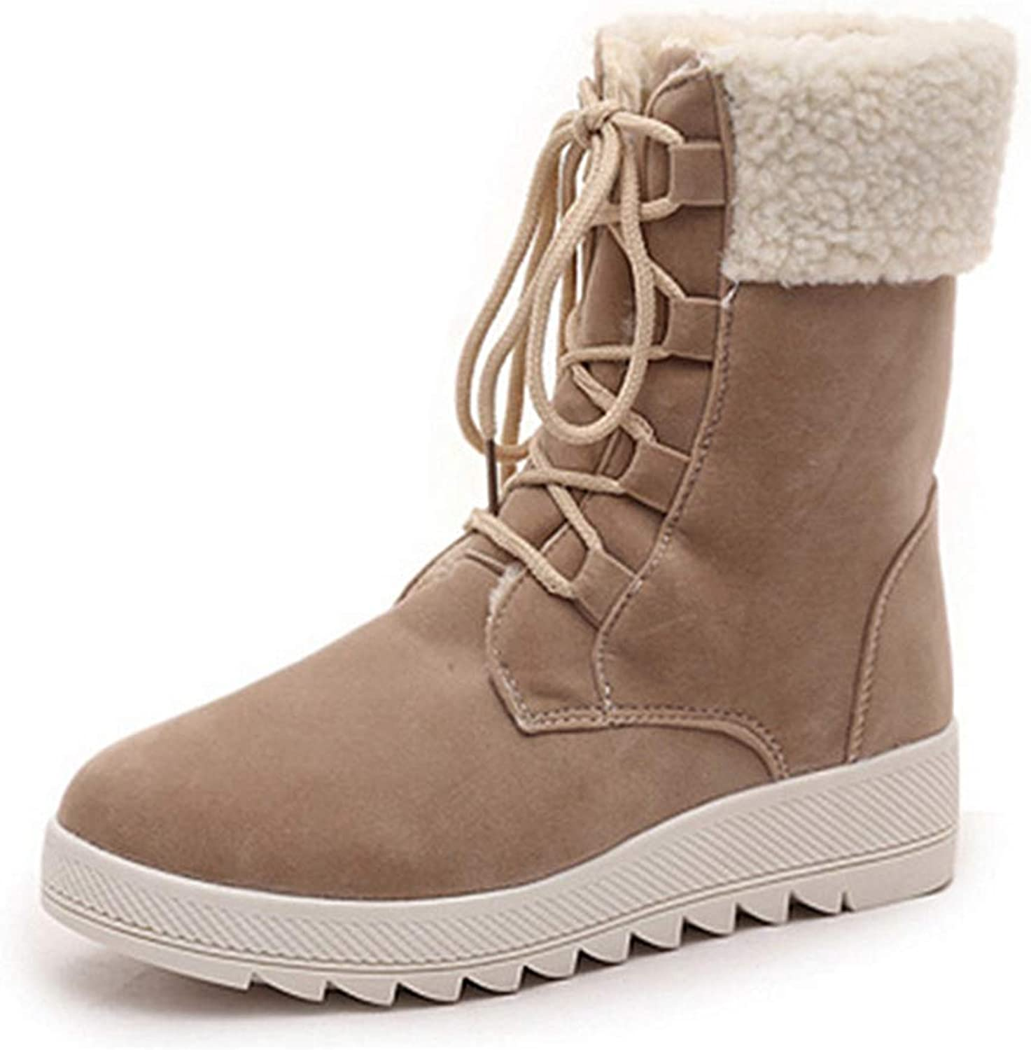 GIY Women's Round Toe Platform Short Boots Winter Faux Fur Lace up Waterproof Warm Snow Boots