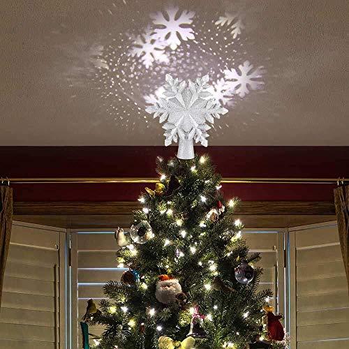 Proiettore Fiore di Natale Puntale dell'albero di Natale Luce della decorazione Neve debole Glittering LED RGB regolabile Forma scava fuori Snow Flower proiettore ornamento Xmas Lights Festival Decora
