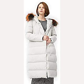 Women's Thickened Long Down Jacket Winter Down Parka Puffer Jacket Long Fur Trimmed Hooded Padded Puffer Parka Ladies Winter Jacket Coat, Ideal for Cold Weather,White,XL