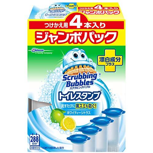 【まとめ買い】 スクラビングバブル トイレ洗浄剤 トイレスタンプ 漂白成分プラス ホワイティーシトラスの香り 付替用 ジャンボパック (4本入り×1箱) 4本セット 24スタンプ分