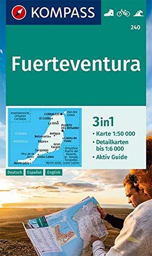 KOMPASS Wanderkarte Fuerteventura: 3in1 Wanderkarte 1:50000 mit Aktiv Guide und Detailkarten. Fahrradfahren. Surfen.