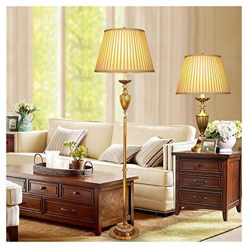 UQY Lámpara de pie, de pie, de pie, de pie, de pie, de estilo europeo, lámpara de mesa de cobre, regulable, retro, creativa, mesa A + piso-A