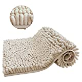 Chenille Bath Rugs,Soft and Ultra Thick Bath Mat, Non-Slip and Absorbent Microfiber Bathroom Mat for Kitchen and Indoor (20'X32', Beige)