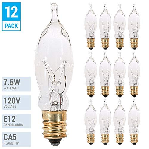 (12 Pack) - KOR 7.5CFC/15/3 7.5W 120 Volt, Flame Candelabra Tip Chandelier Bulb, Clear CA5 Incandescent, Petite Decorative Lamp, E12 Candelabra Brass Plated Base, 40 Lumens, Dimmable.