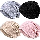 4 Piezas Gorro Beanie Sombreros de Calavera Gorra de Punto Gorro Bufanda para Mujeres (Pure Color)