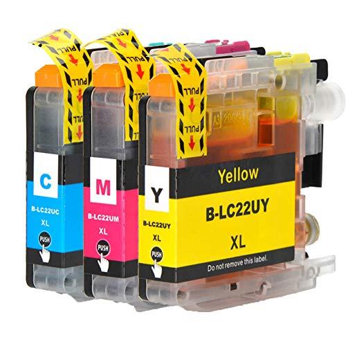 Caidi® LC22UXL Ersatz für Brother LC22U XL Hohe Kapazität Tintenpatronen kompatibel mit Brother DCP-J785DW MFC-J985DW Drucker (3 Pack)