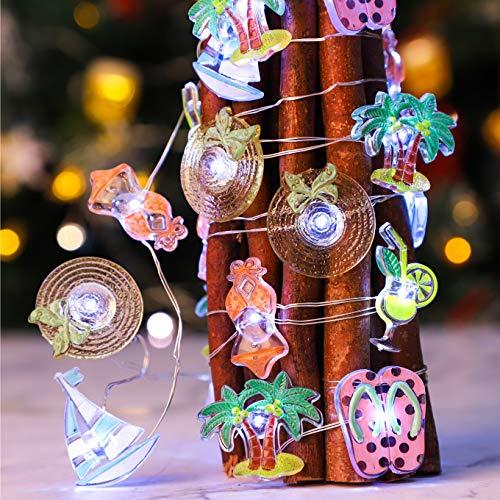 Impress Life Nautical Theme String Lights, Hat Cocktail Glass, Sailboat, Flip Flops, Palm Tree, Bikini,10ft 30 LEDs Indoor Fairy Lights for Beach Sea Ocean Tropical Party Xmas Tree Decoration